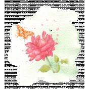 Pink Orange Watercolor Rose Transfer