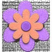 Purple and Orange Felt Stitched Flower