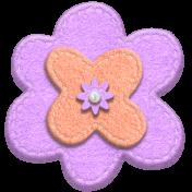 Purple and Orange Felt Stitched Flower 02