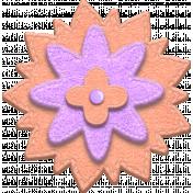 Purple and Orange Felt Stitched Flower 03