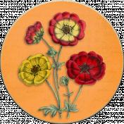 Vintage Autumn Flowers on Circle Chipboard