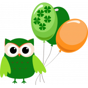 Saint Patrick Owl with Balloons
