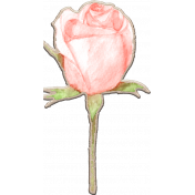 Dex Mini Kit Chipboard Watercolor Rose with Stem