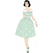 Green Vintage Lady Paper Doll