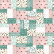 Pink and Green Quilt Patterened Paper