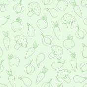 Green Handdrawn Veggie Pattern Paper