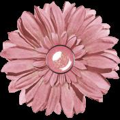 Pink Glitter Flower with Brad Center