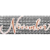 Autumn Mini Kit November Cursive Word Art Sticker