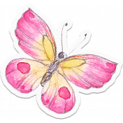 Bloom Pink and Yellow Butterfly Sticker