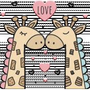 Love Never Fails Giraffes Chipboard