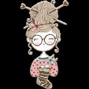Knit Mini Kit: Chipboard Knitting Girl 2
