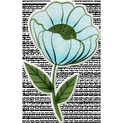 Touch of Frost- winter flower sticker blue