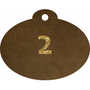 Brown and gold '2' tag