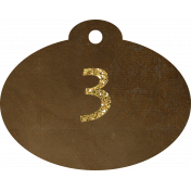 Brown and gold '3' tag