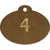 Brown and gold '4' tag