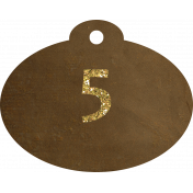 Brown and gold '5' tag