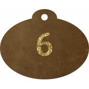 Brown and gold '6' tag