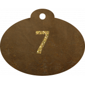 Brown and gold '7' tag