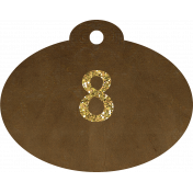 Brown and gold '8' tag