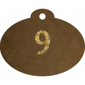 Brown and gold '9' tag