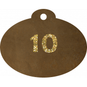 Brown and gold '10' tag