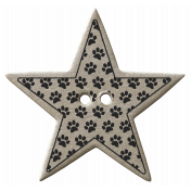 Black Paw Print Chipboard Star