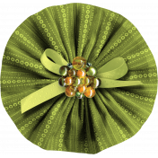 Green Fabric Accordion Flower