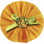Orange Fabric Accordion Flower