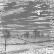 Winter Scene in Moonlight- Gray Newsprint