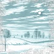 Winter Scene in Moonlight- Blue Newsprint
