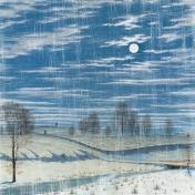 Winter Scene in Moonlight- White Distressed