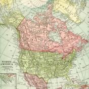 Vintage Maps Kit- Map 07- North America