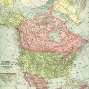 Vintage Maps Kit- Map 07- North America