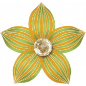 Spookalicious- Green Orange Striped Flower