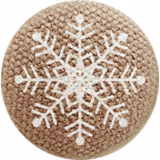Sweater Weather- Brown Fabric Button- Snowflake