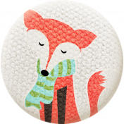 Sweater Weather- Fabric Button- Fox With Scarf