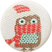 Sweater Weather- Fabric Button- Owl With Scarf & Hat