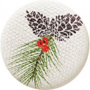 Sweater Weather - Fabric Button - Pine Cone with Branch