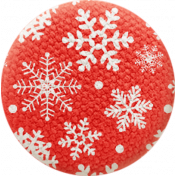 Sweater Weather- Fabric Button- Red With Snowflakes