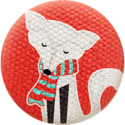 Sweater Weather- Fabric Button- Winter Fox With Scarf