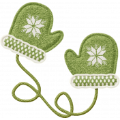 Sweater Weather- Green & White Mittens