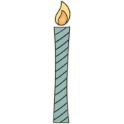 Birthday Wishes- Blue Candle Sticker