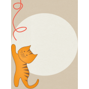 Kitty- Journal Card- Cat Reaching For Yarn- 3 x 4
