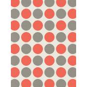 Kitty- Journal Card- Red & Gray Polkadots- 3 x 4
