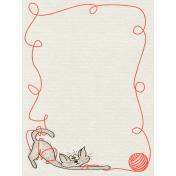 Kitty- Journal Card- Kitty In Yarn- 3 x 4