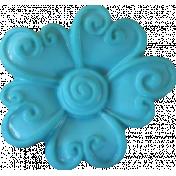Button Mix Set 01 - Button # 01 - Teal Flower