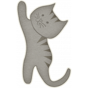 Furry Friends- Kitty- Gray Reaching Kitty Sticker