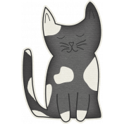 Furry Friends- Kitty- Sweet Black & White Kitty Sticker