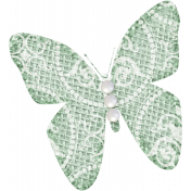 Jane- Green Burlap Butterfly