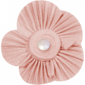 Jane- Pink Fabric Flower with Pearl